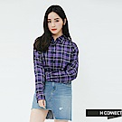 H:CONNECT 韓國品牌 女裝-輕薄亮眼格紋襯衫-藍