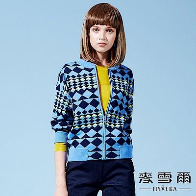 【麥雪爾】厚羊毛菱形幾橫條纹針織外套-水藍