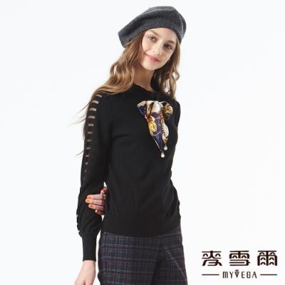 【麥雪爾】鏤空綁帶蝴蝶結長袖針織衫-黑