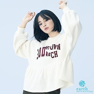 earth music 廣瀨鈴企劃款-下擺拼接剪裁設計落肩上衣