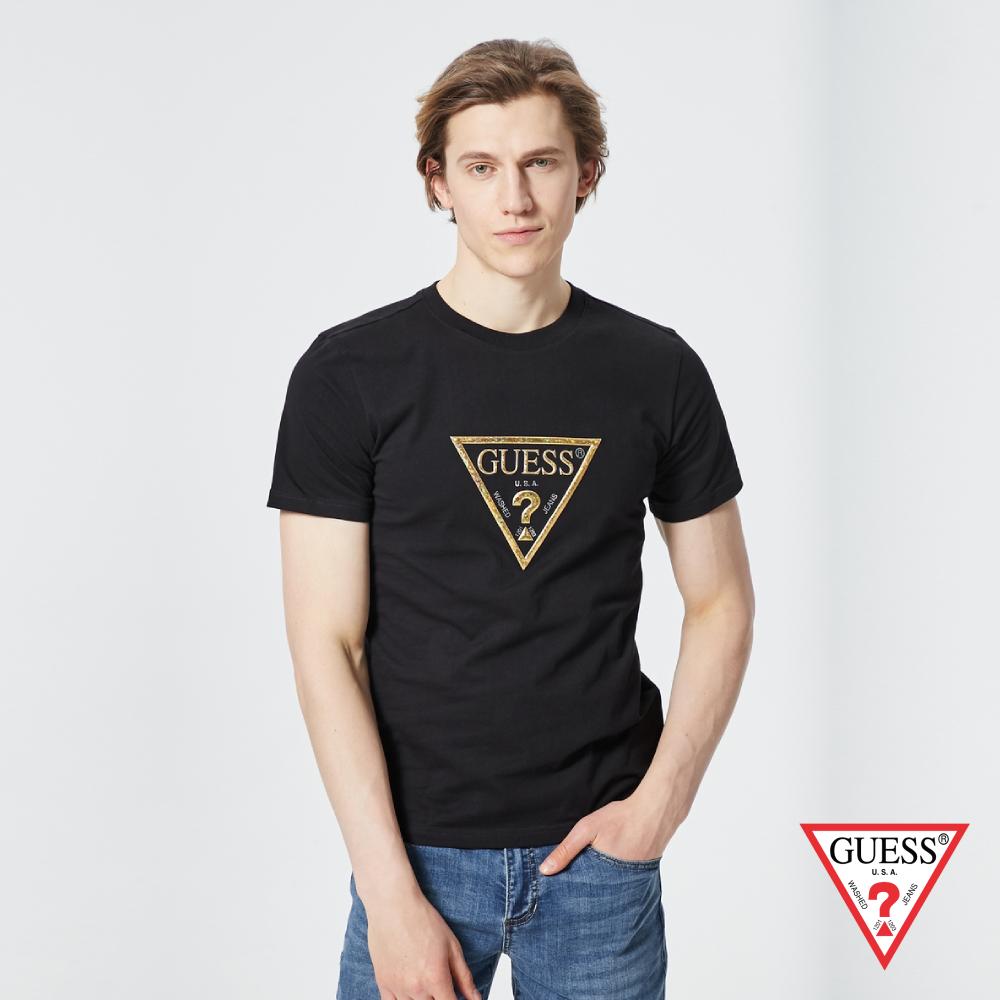 GUESS-男裝-個性金色PVC印刷LOGO短T,T恤-黑 原價1390