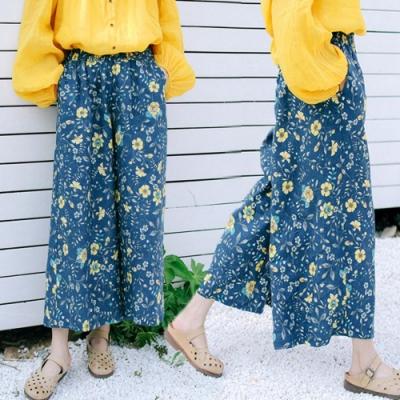 休閒褲-亞麻鬆緊垂感印花寬管直筒碎花寬鬆-設計所在