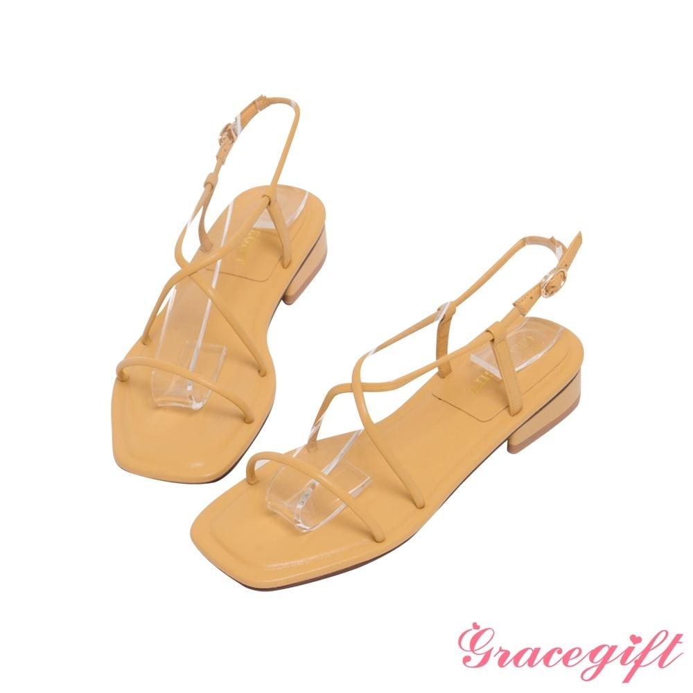 Grace gift-一字交叉繫踝低跟涼鞋 黃