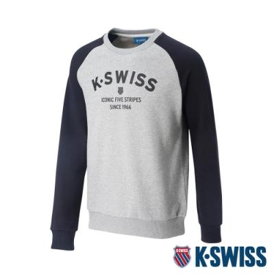 K-SWISS Curve KS Logo 圓領長袖上衣-男-淺灰/黑