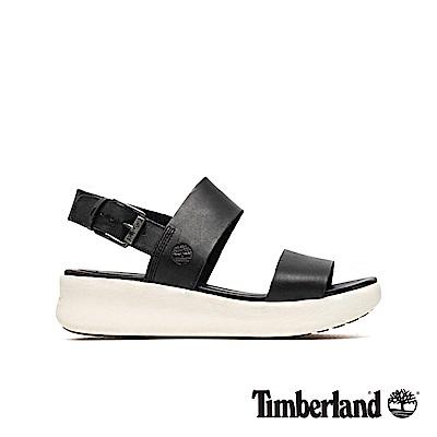 Timberland 女款黑色粒面皮革一字楔型繫帶涼鞋|A1WX8