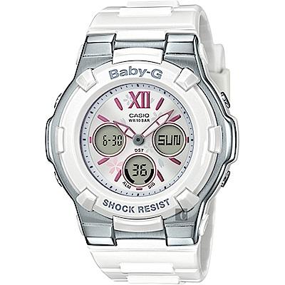 CASIO 卡西歐 Baby-G 櫻花甜美手錶-白(BGA-110BL-7B)