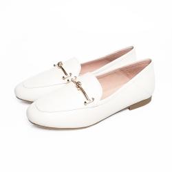 KOKKO經典扭結金屬牛皮舒適平底鞋椰奶米