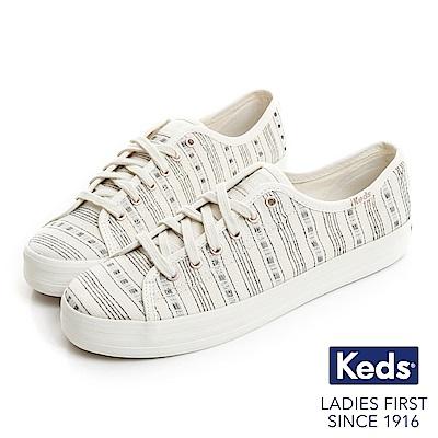 Keds KICKSTART 復古風條紋綁帶帆布鞋-奶油白