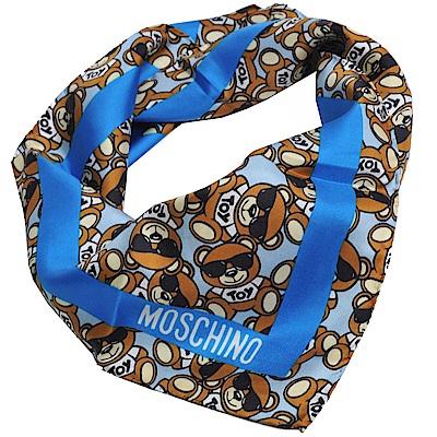 MOSCHINO 義大利繽紛TOY小熊LOGO圖騰100%絲質絲巾(藍色系)