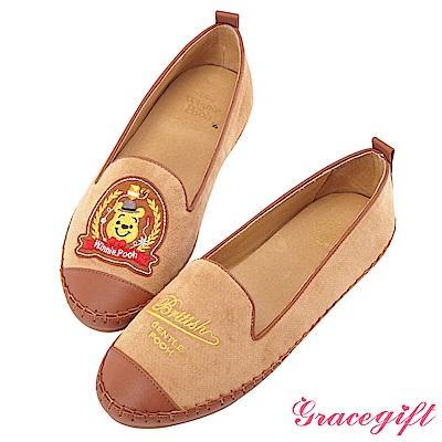 Disney collection by grace gift紳士造型徽章樂福鞋 駝