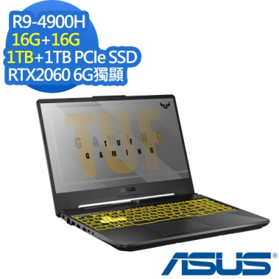ASUS FA506IV 15.6吋電競筆電 Ryzen 9 4900H/RTX2060 6G獨顯/16G+16G/1TB+1TB PCIe SSD/TUF Gaming/幻影灰/特仕版