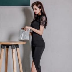 IMStyle 時尚韓版蕾絲拼接連身洋裝(黑色)