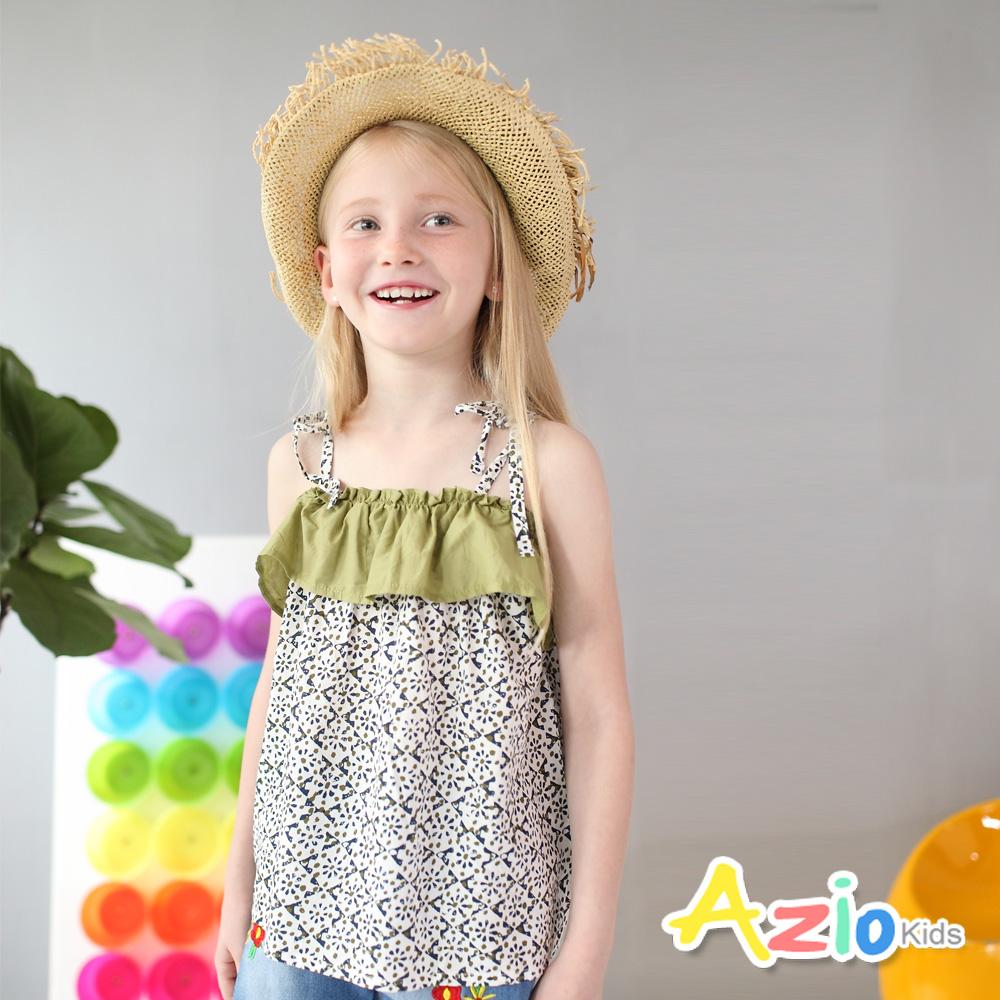 Azio Kids 童裝-上衣 幾何花紋配色荷葉領細肩綁帶上衣(綠)