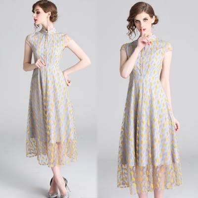 【韓國K.W.】女人話題完美比例優雅飄逸蕾絲洋裝