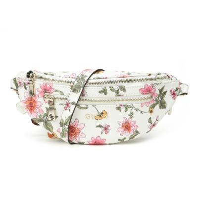 GUESS-女包-花卉圖案腰包-白