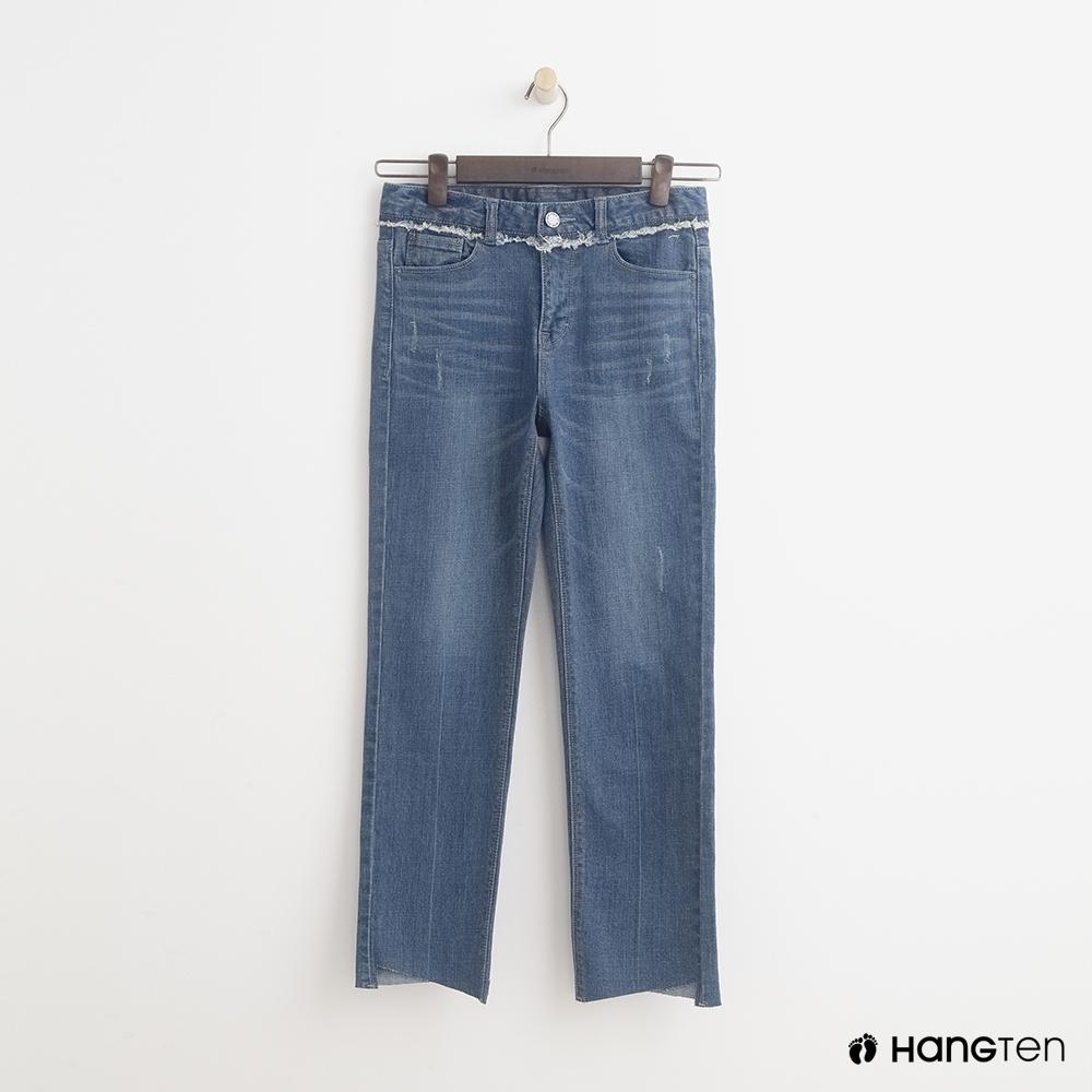 Hang Ten-女裝-經典直筒牛仔七分褲-深藍色