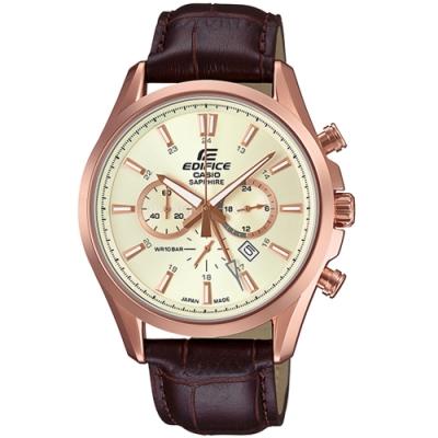 CASIO卡西歐 三針三眼簡約時尚皮帶錶(EFB-504JGL-7A)