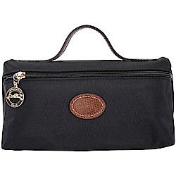 LONGCHAMP Le Pliage 牛皮LOGO帆布手提化妝包(黑色)