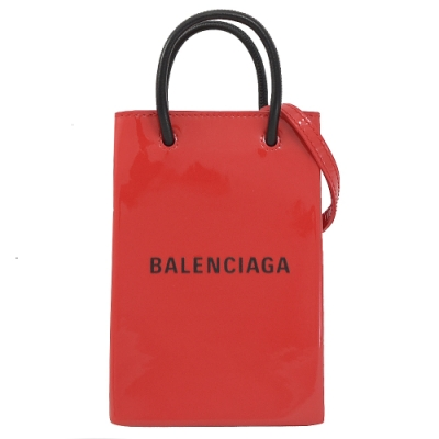 BALENCIAGA Shopping漆皮兩用手提袋(迷你/紅)