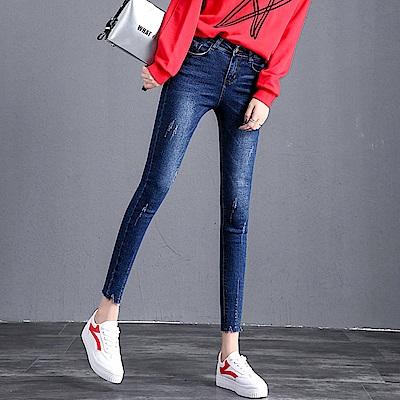 ALLK 顯瘦刷白9分牛仔褲 深藍色(尺寸27-31腰)