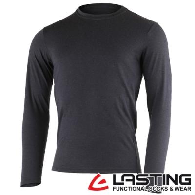【LASTING捷克】男款羊毛抑菌除臭透氣保暖內著長袖T恤LT-LOGAN黑灰