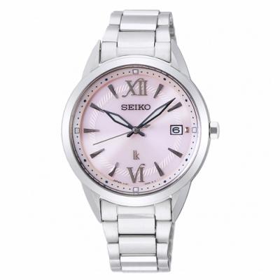 SEIKO精工 LUKIA太陽能簡約時尚手錶SUT389J1-粉X銀/34mm