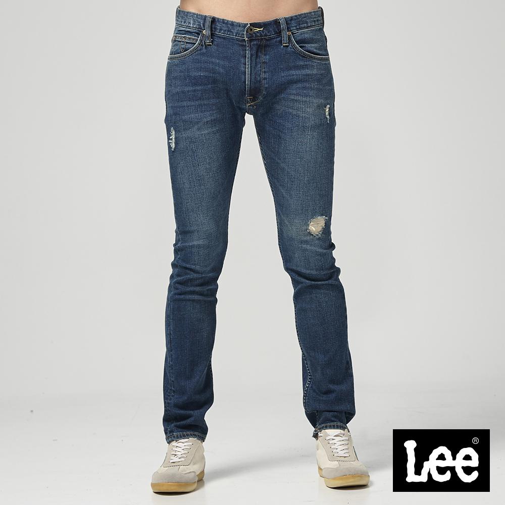 Lee 低腰合身小直筒牛仔褲/101+中藍色洗水