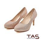 TAS華麗水鑽光澤感高跟鞋-玫瑰金