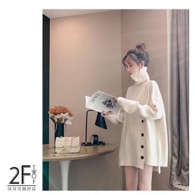 2F-韓系高領不規則排釦造型針織衫-白-F