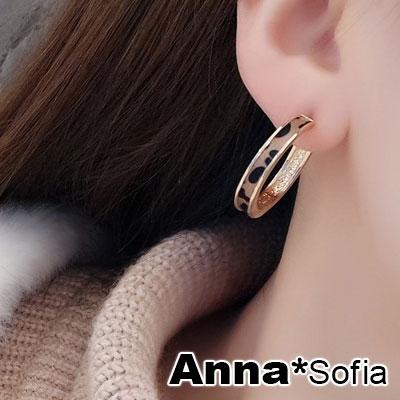 【2件399】AnnaSofia 時尚布質豹紋 C圈耳針耳環(金棕系)
