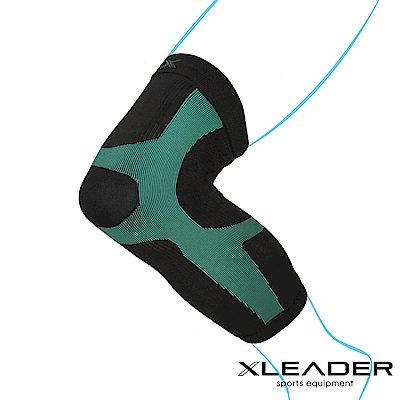 LEADER 進化版X型運動壓縮護膝腿套 湖綠色 1只入