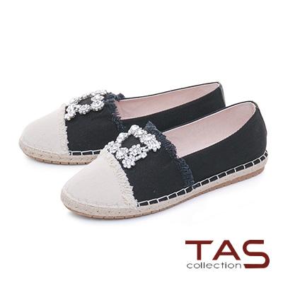 TAS方形水鑽不修邊拼接草編休閒鞋-百搭黑