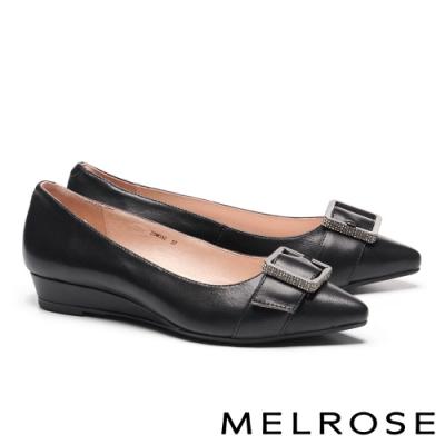 低跟鞋 MELROSE 低調時尚質感鑽飾全真皮尖頭楔型低跟鞋-黑
