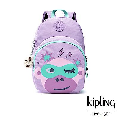 Kipling 甜美薰衣草紫猴臉兒童雙肩包-DONAE
