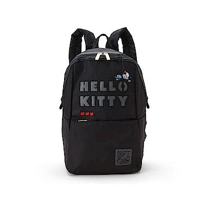 Sanrio HELLO KITTY黑色防潑水布面輕量後背包(LOGO)