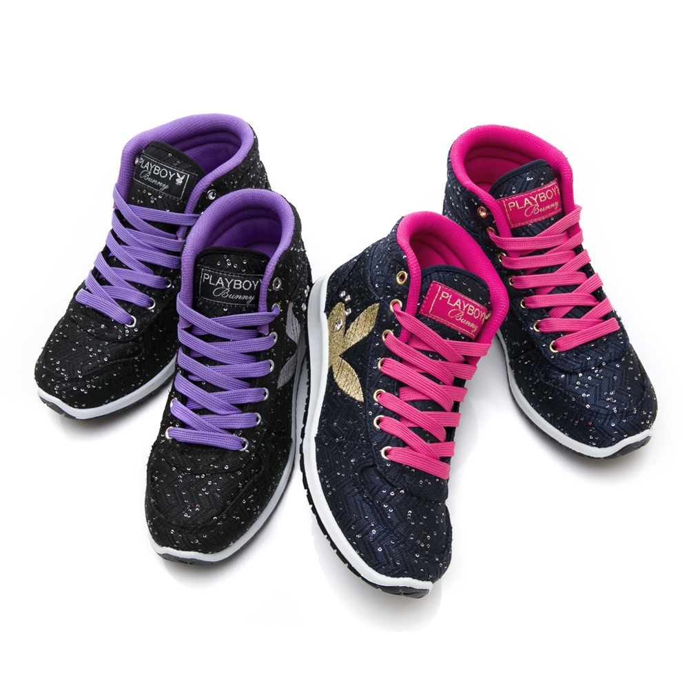 【時時樂限定】PLAYBOY PartyQueen內增高休閒鞋-兩色