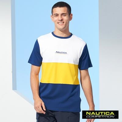 Nautica COMPETITION男裝撞色拼接短袖T恤-藍
