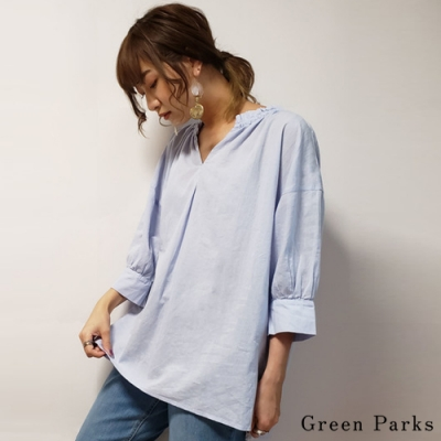 Green Parks 氣質荷葉領七分袖襯衫上衣