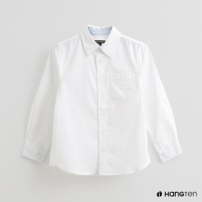 Hang Ten -童裝 - 純色胸前口袋襯衫 - 白