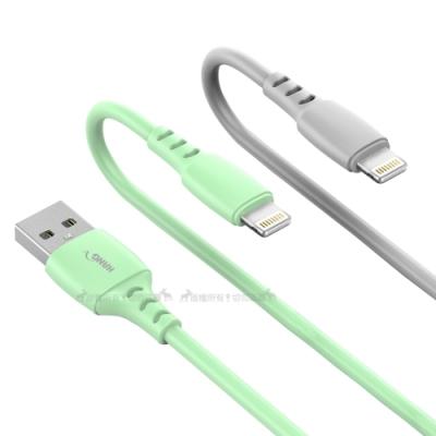 HANG Lightning 8pin 3.4A快速閃充傳輸線 液態軟膠耐用充電線(1M)