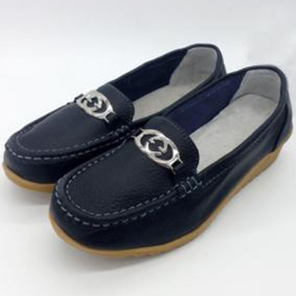 韓國KW美鞋館-(現貨)休閒時尚G扣真皮鞋(共2色) (黑)
