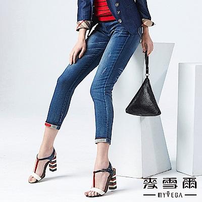 【麥雪爾】彈力刷痕皮革裝飾牛仔褲