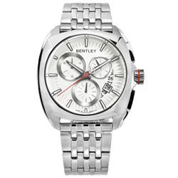 BENTLEY 賓利 德國製造 藍寶石水晶玻璃 日期 三眼 不鏽鋼手錶-米白色/43mm