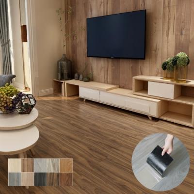 澄境 DIY自黏式加厚耐磨仿木紋地板貼/壁貼(72片)