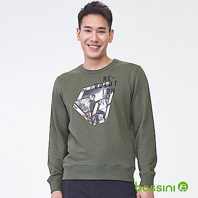 bossini男裝-印花厚棉運動衫05橄欖灰