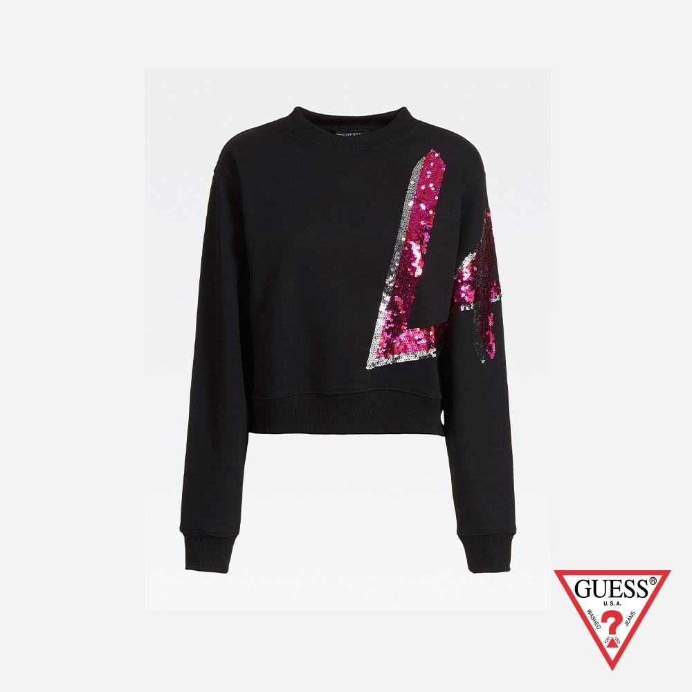 GUESS-女裝-亮片側邊LA印字運動衫-黑 原價2290