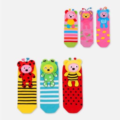 WHY AND 1/2 立體普普熊三隻一組短襪 多色可選
