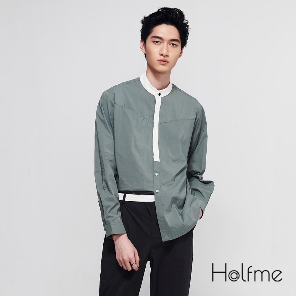 Halfme-雙色拼接立領襯衫-男