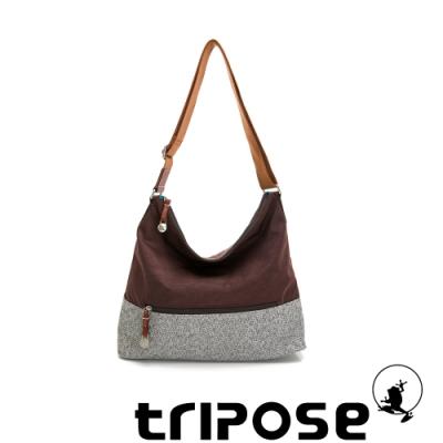 tripose 漫遊系列岩紋輕巧側肩背包 可可咖