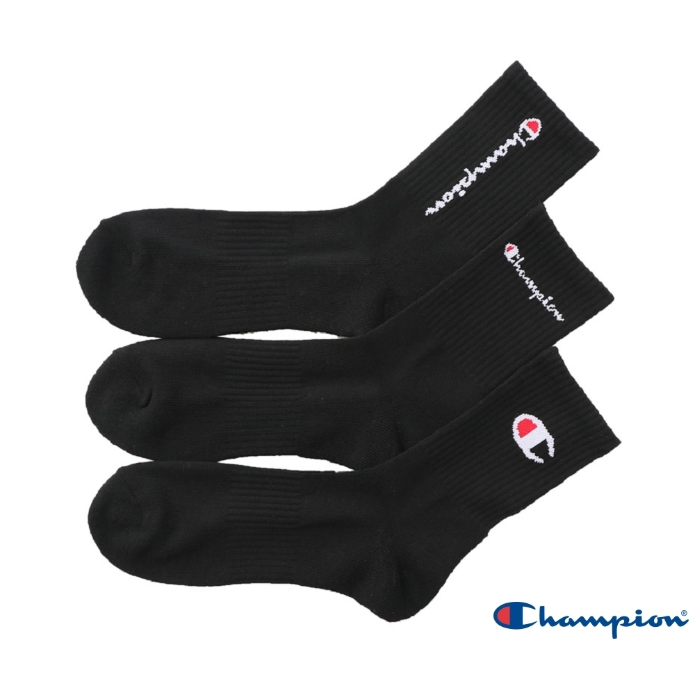 Champion Logo長襪3入 黑色 CMSCR101-090-BLACK
